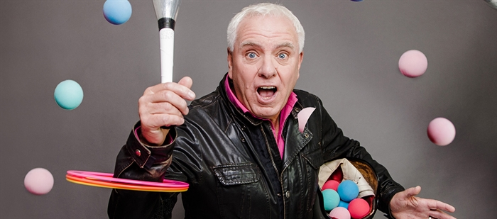 Dave Spikey In Juggling on a Motorbike